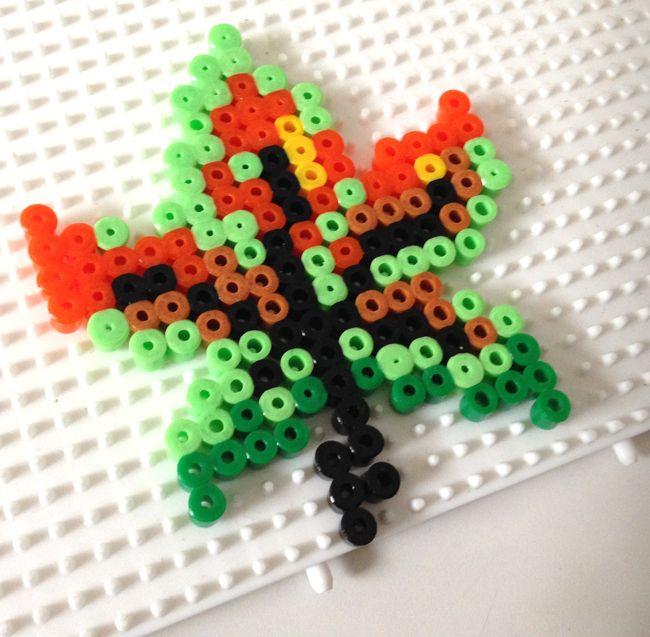 Autumn leaf hama perler beads