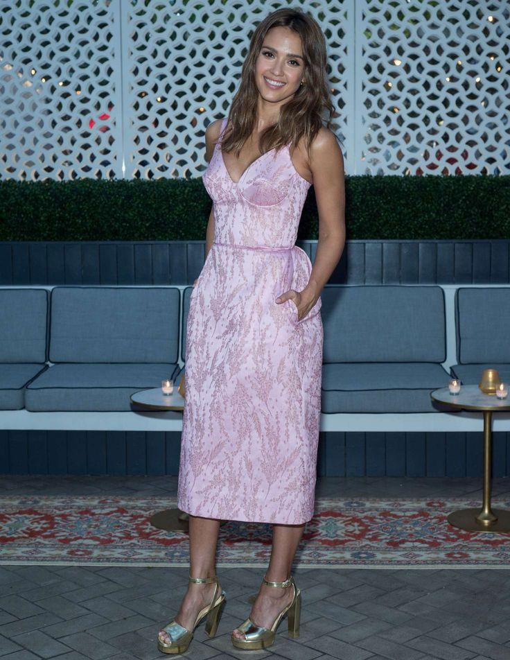 Jessica Alba wearing Ulyana Sergeenko jacquard dress