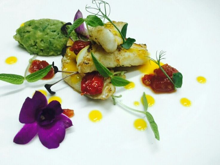 Cod, avocado and spicey tomatoes jam
