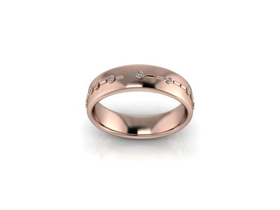 """BINARY L-O-V-E: Geek Wedding Band with """"love"""" spelled out in Binary Code! Choose your favorite metal"""