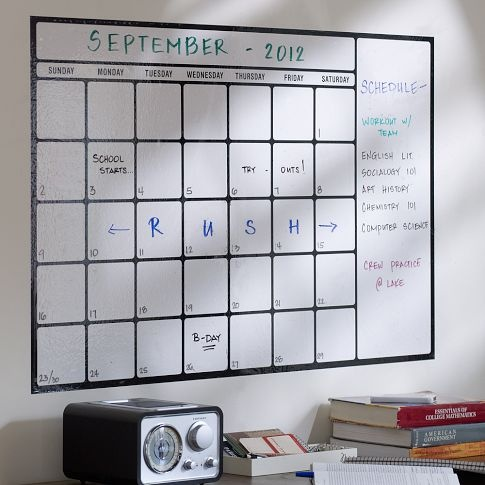 Dry-Erase Removable Calendar Decal - So it can change like the wind (just like my life!)