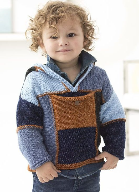 Free Knitting Pattern for Granville Hooded Pullover = Modular hoodie with front pocket. Child 2 (4, 6). Designed by Irina Poludnenko for Lion Brand