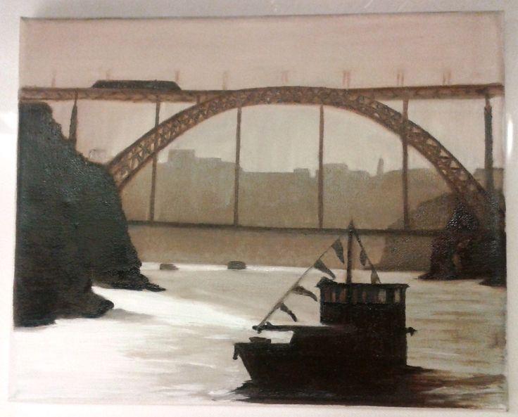 """""""Dawn in Ribeira, Oporto, Portugal""""  - Oil on canvas  FOR SALE"""
