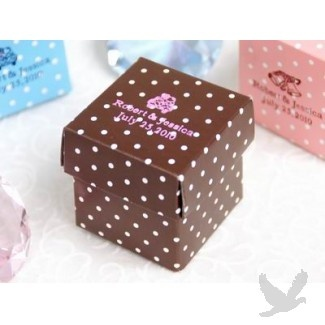 Personalized Polka Dot Favor Boxes   Chocolate Brown (Bulk 100 Pieces)