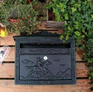 Rural Cast Iron Mail Box Mailbox Antique Metal Wall Mount Postbox Post Letters Box Home Garden Outdoor Decor Country
