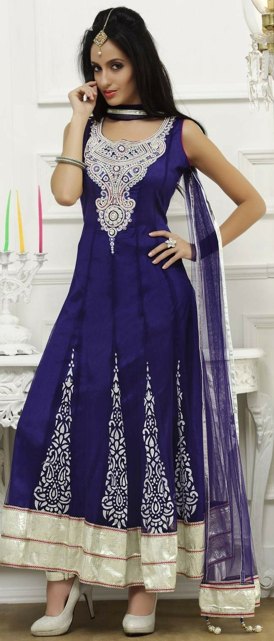 Royal #Blue Net Flared #Churidar Kameez @ $159.77