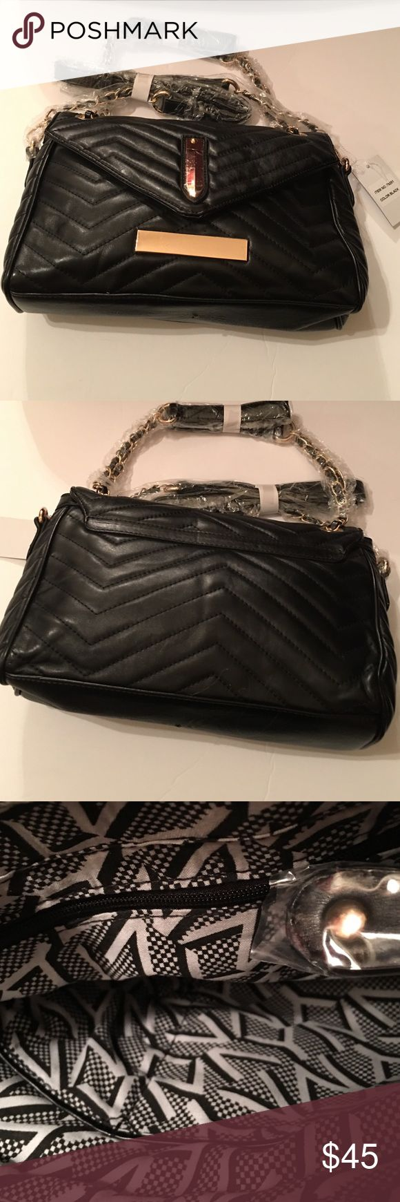 """Beni Chevron Quilted Shoulder Bag (Black) NWT. Beni chevron quilted shoulder bag made from Faux leather. The bag features zip top closure with gold tone hardware and a detachable shoulder strap. Dimensions are L 11"""" X H 7.5"""" X W 3"""" (12"""" D). Bags Shoulder Bags"""