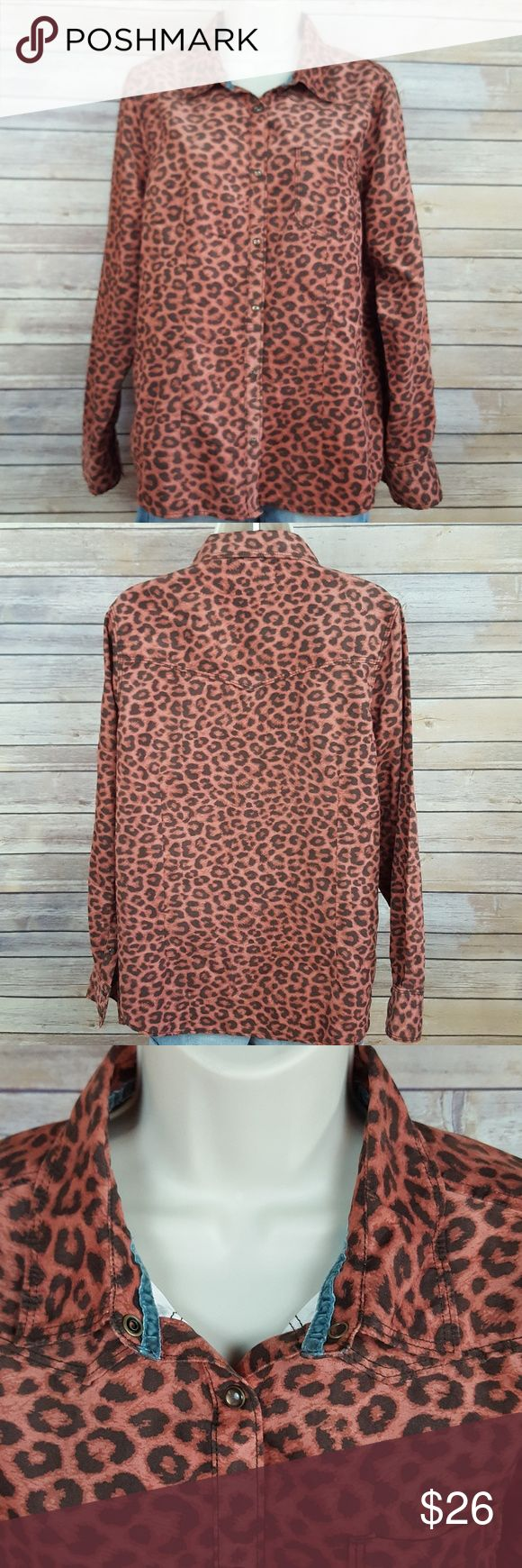 "Legacy Falls rust brown cheetah print Legacy Falls, size Large,  100% polyester brushed suede feel,  long sleeve with snap buttons and a western front and back yoke, had a denim strip around neckline, measurements are... 22"" bust,  24"" sleeve length. Legacy Falls Tops"