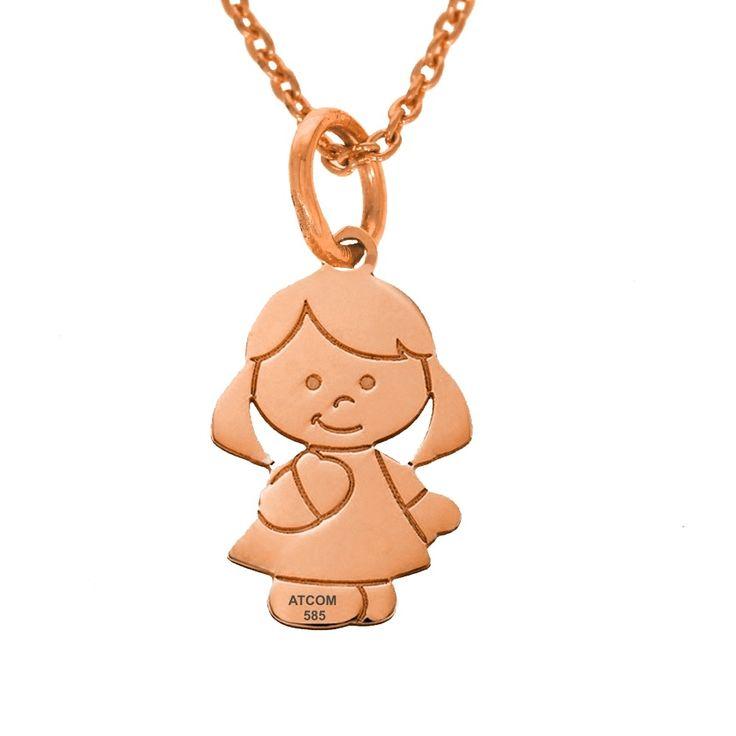 Lantisor din aur roz cu pandantiv fetita personalizat