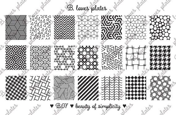 B. Loves Plates - B.07 - beauty of simplicity ♥  Plate size: 9,5cm x 14,5cm Number of patterns: 21 Pattern size: 1,6cm / 1,7cm x 2,0cm / 2,1cm