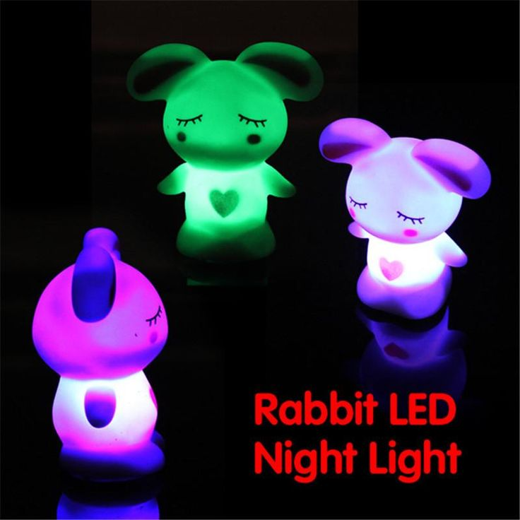 LED Novelty Lamp Changing Colors Night Romantic Cute Rabbit Light-Up Toys Kid Gift