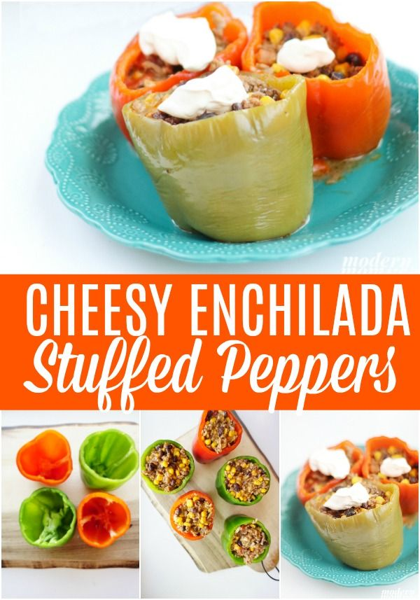 Cheesy Enchilada Stuffed Bell Peppers Recipe Cheesy Enchiladas Stuffed Peppers Lunch Recipes Healthy