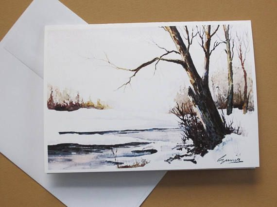 Greeting card winter scene 5 x 7 art print Walter Czuma