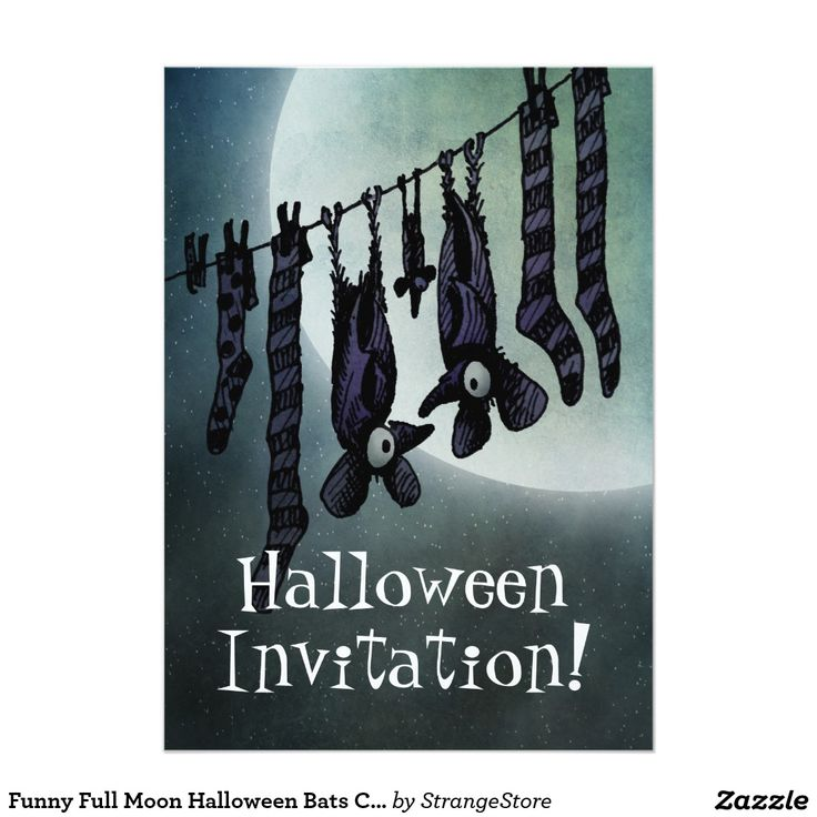 Funny Full Moon Halloween Bats Custom 5x7 Paper Invitation Card