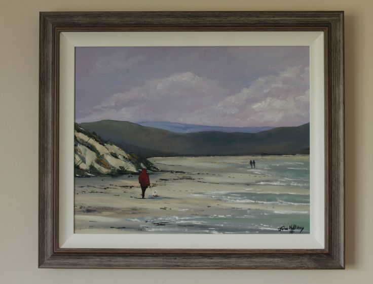 Walking at Murlough Bay, Co Down, oil paint on canvas board.