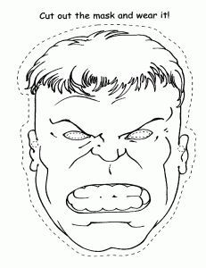 templates for coloring in hulk mask - Google Search