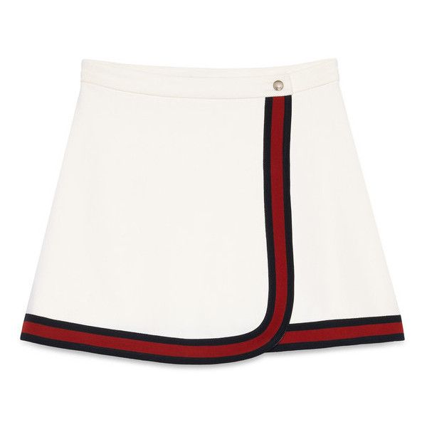 Gucci Felted Jersey Wrap Skirt ($590) ❤ liked on Polyvore featuring skirts, white, gucci, gucci skirt, white jersey, a line skirt and knee length a line skirt