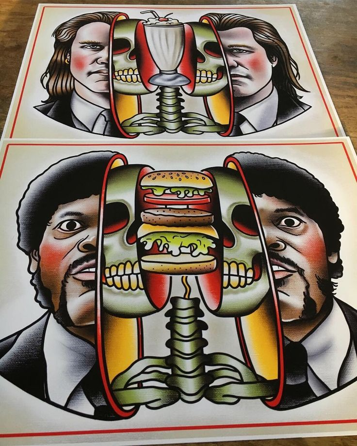 by Quyen Dinh Traditional tattoo art, Pulp fiction