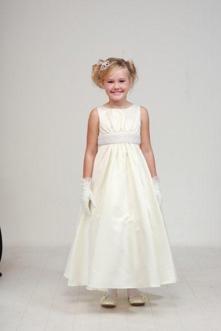 a082addb433 Ivory Elegant Pearl Satin Flower Girl Dress