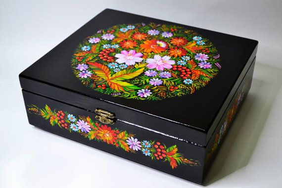 Wooden Box  Casket Hand painted Ukrainian folk by IGORartPAINTING