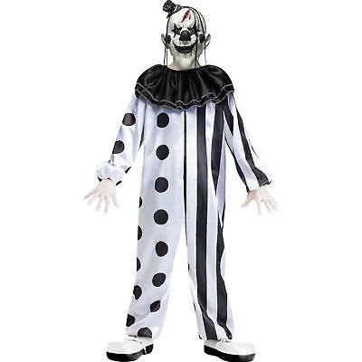 Killer Clown Child Costume Halloween Scary Boys Horror Kids Black White Medium