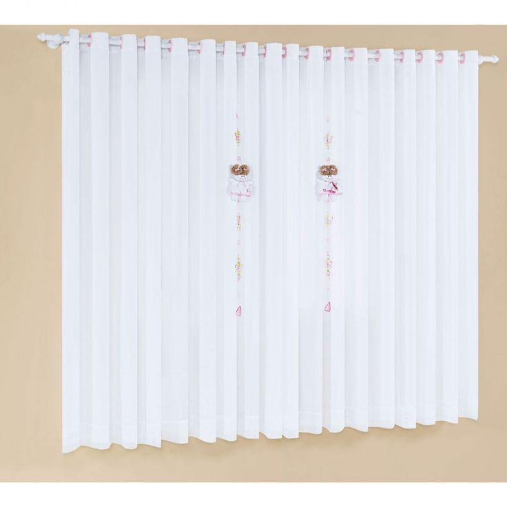 Cortina P/ Quarto de Bebê 2,00m x 1,80m alt c/ pêndulo - Coleção Cristal - Tecido Percal 150 fios