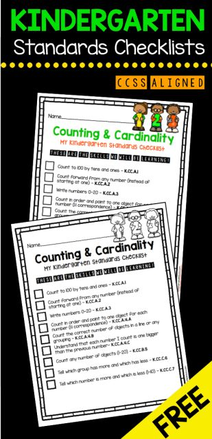 FREE Standards Checklists for all Math and ELA Domains - grab this counting and cardinality checklist FREEBIE