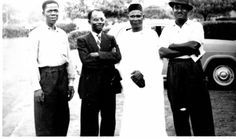 Some Ghanaian leaders of the opposition to Kwame Nkrumah's CPP government. Joe Appiah is second from left and Victor Owusu is at extreme right.