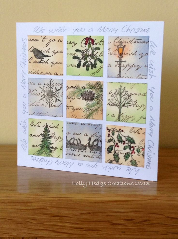 My first Inchie using Clarity stamps: holly, geese, trees, snowflake, mistletoe & robin