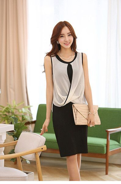 new womenes summer dress stretchable sleeveless ladies work wear two piece outfits ol knee length black dress