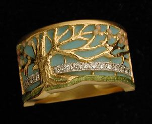 Current Masriera- Tree of Life enameled ring - after an original design by Lluis Masriera (1872 - 1958)