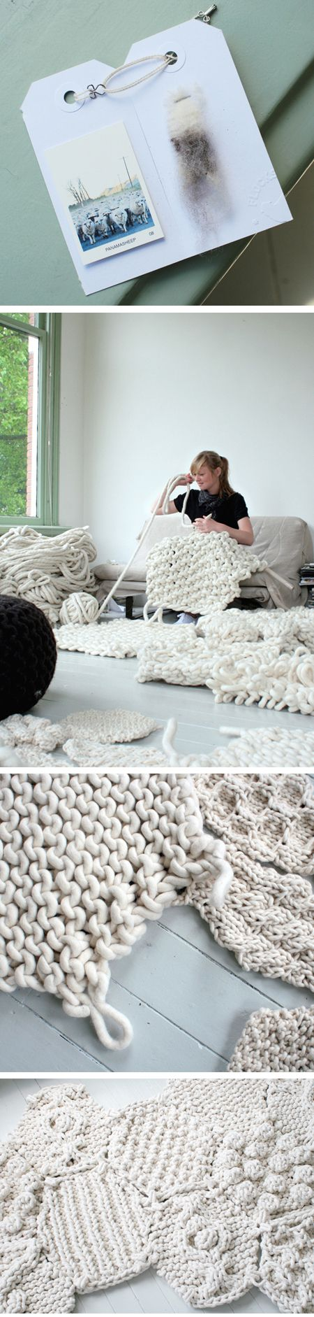 christienmeindertsma.  I confess to a recent obsession with knitting giant things with giant yarn.  Check out the article on the blog about a rug project using super bulky wool made from the wool of a single flock of sheep, one sheep at a time.