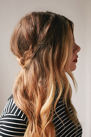 A half-up braided crown - I might wear my hair like this. definitely half up and half down with some kind of braid. if that matters to anyone!