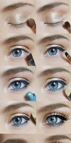Mooie naturel make-up voor blauwe ogen (jammer dat de mijne bruin zijn)!