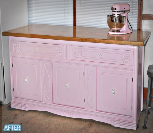 Kitchen Island Made From Old Doors: Kitchen Island Made From Old Buffet Table And Wood Door For Counter Top.