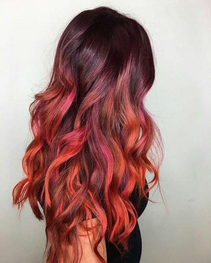 Frisuren Halblang Langes Lockiges Rotes Haar Ombre Effekt Moderne Haarfarben Effekt Frisuren Halblang Langes L Hair Styles Hair Color 2018 Ombre Hair