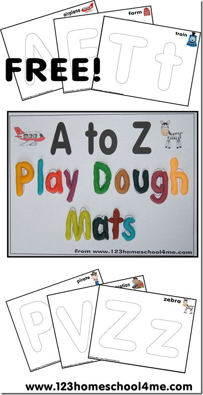 Free Alphabet playdough mats from 123 Homeschool 4 Me. http://www.123homeschool4me.com/2013/08/playdough-mats-alphabet-letters-from-to.html