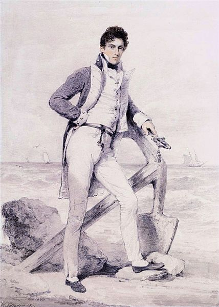 Henry Edridge (1769–1821) Portrait of Captain Hoste of H.M.S. Amphion, signed & dated 'H. Edridge 1811.' (lower left) - Captain Sir William Hoste, 1st Baronet (1780–1828), Royal Navy captain - Although, perhaps best known as one of Lord Nelson's protégés, Hoste was one of the great frigate captains of the Napoleonic wars, taking part in six major actions including the capture of a heavily fortified port. He was however absent from Trafalgar having been sent with gifts to the Dey of Algiers