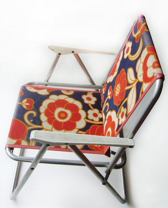 VINTAGE 1960u0027s , Pretty Children Folding Chair , Kid Camping Chair , Child  Room Chair , Retro , Flowered Pattern , Red , Blue , Orange Color
