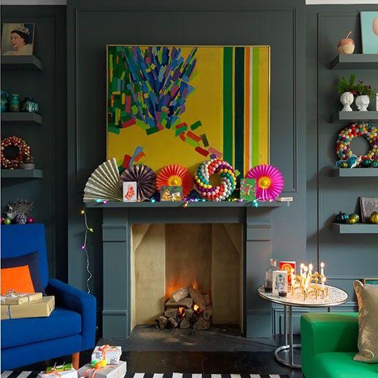 Dark Grey Living Room With Festive Mantlepiece