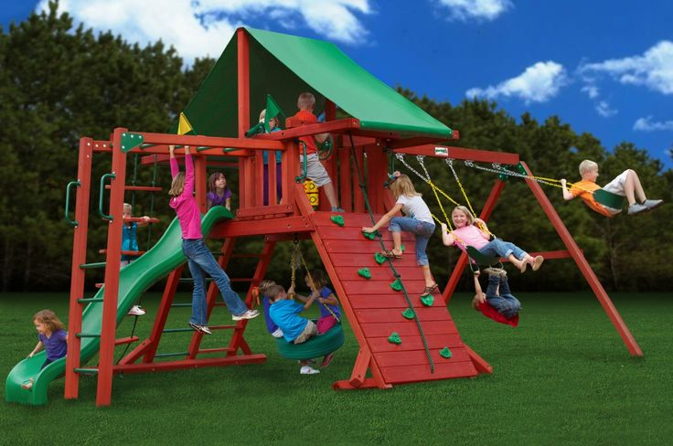 Gorilla Playsets Sun Valley II Kids Outdoor Wooden Playset With Monkey Bars