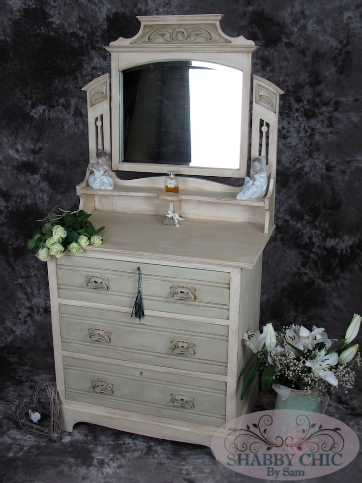 Beautiful antique Dressing Table (Over 100 years old!) Using Annie Sloan's  Cream & Versailles chalk paint, then some aging wax, has transformed this  piece ... - 65 Best Our Chic Mouldings Creations Images On Pinterest