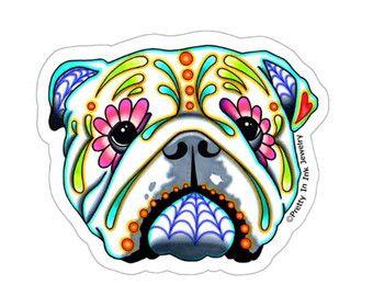 Dag van de dode Engels Bulldog Sticker - suiker schedel hond Decal