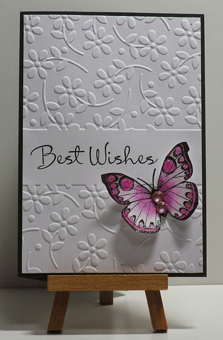Supplies: Hero Arts butterfly stamp; versafine ink & clear ep; Petal Pleasures embossing folder; Annabelle stamps sentiment; inktense pencils; stickles