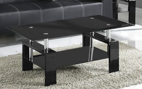 New-Coffee-Table-Black-or-Clear-Glass-White-Black-Red-Walnut-Legs-with-Chrome