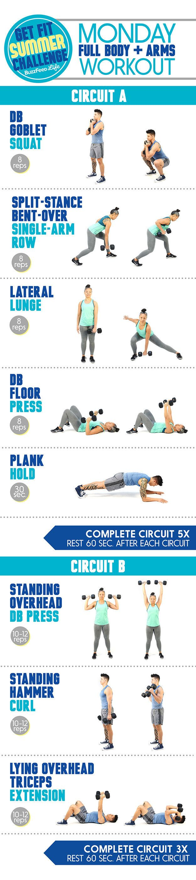 This is the workout you'll do every Monday:   Take BuzzFeed's Get Fit Summer Challenge, Have The Best Summer Of Your...