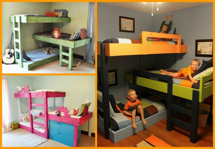 Here's a DIY triple bunk bed that makes good use of space in a kid's room! You can find the full album of this project at http://theownerbuildernetwork.co/3tgw Will the kids love this?
