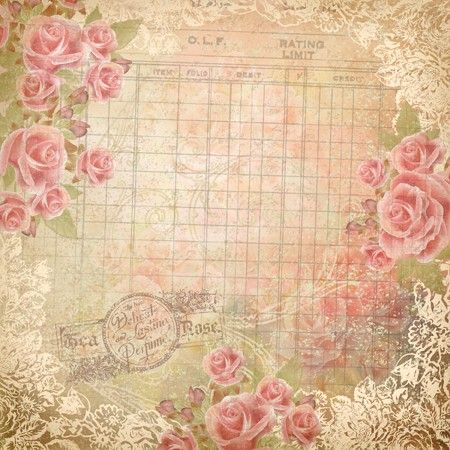 Roses on ledger paper, white border scrolls