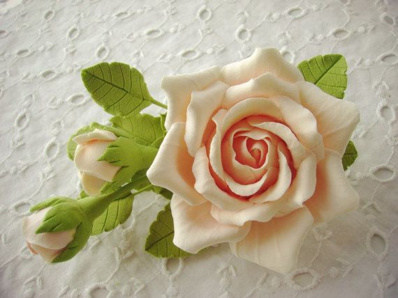 Hair barrette polymer clay flower. Cream rose by FloraAkkerman, $28.00