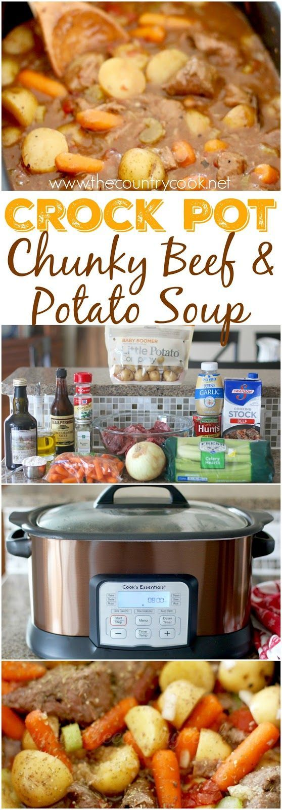 Crock Pot Chunky Beef & Potato Stew recipe from The Country Cook